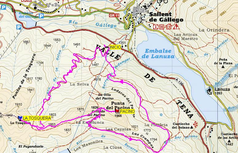 Valle De Tena Mapa.Pico Pacino Desde Sallent De Gallego
